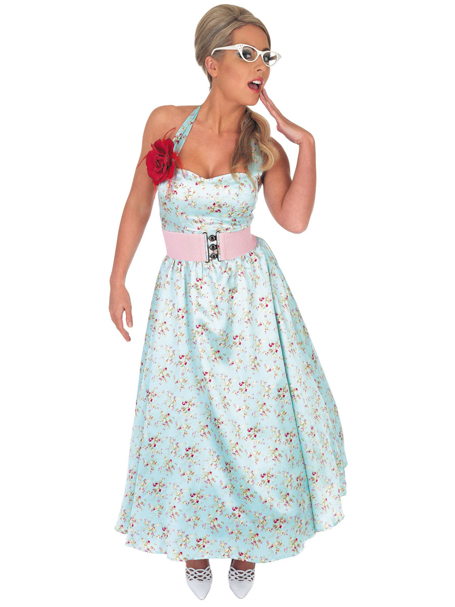 Home gt historical costumes gt 1950s fancy dress gt 1950 s blue day dress