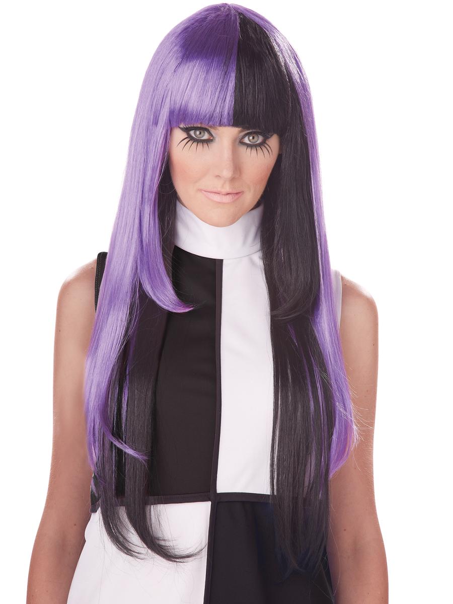 Adult A La Mod Black Purple Wig 70770 Fancy Dress Ball