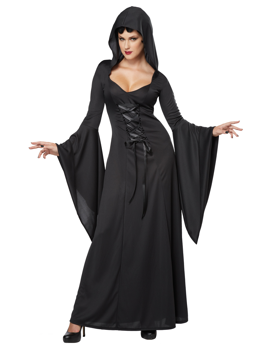 Adult Black Deluxe Hooded Robe Costume 01338 Fancy
