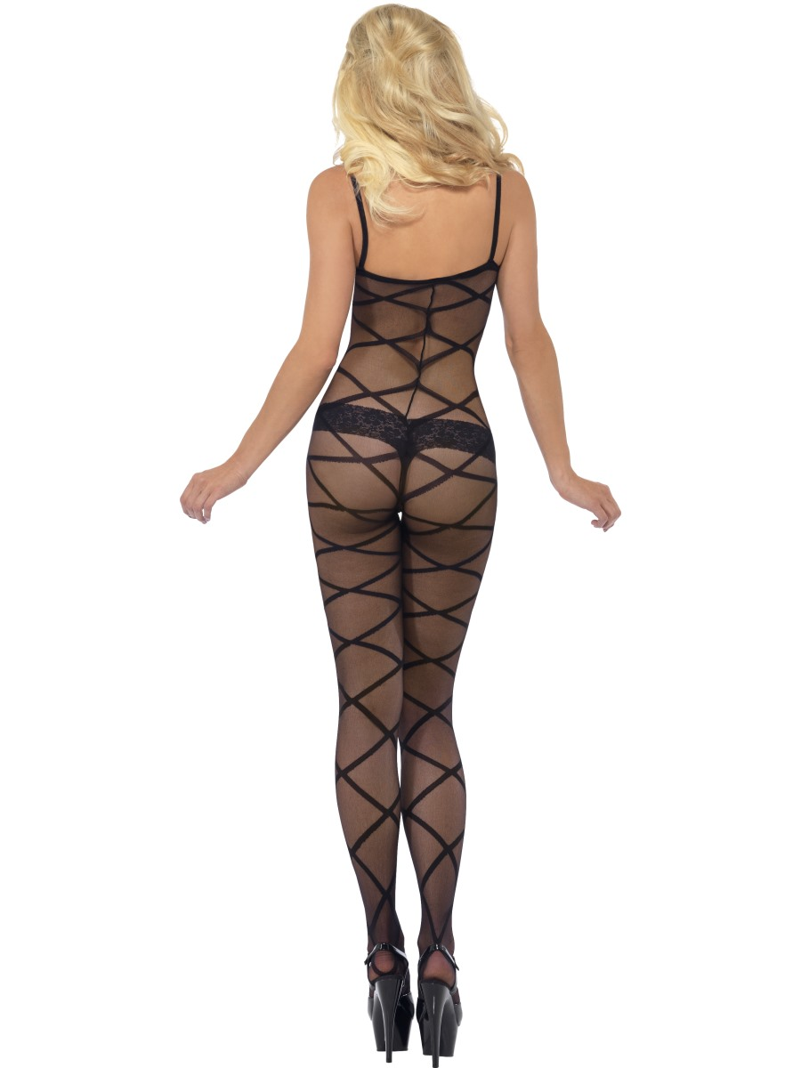 Adult Black Sheer Body Stocking 20853 Fancy Dress Ball