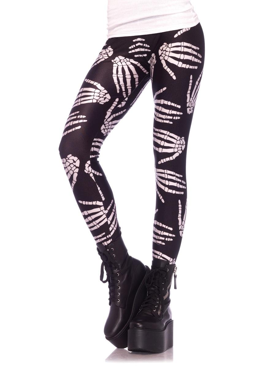 baf6d9d0783118 Adult Boney Hands Skeleton Print Leggings - 13550 - Fancy Dress Ball