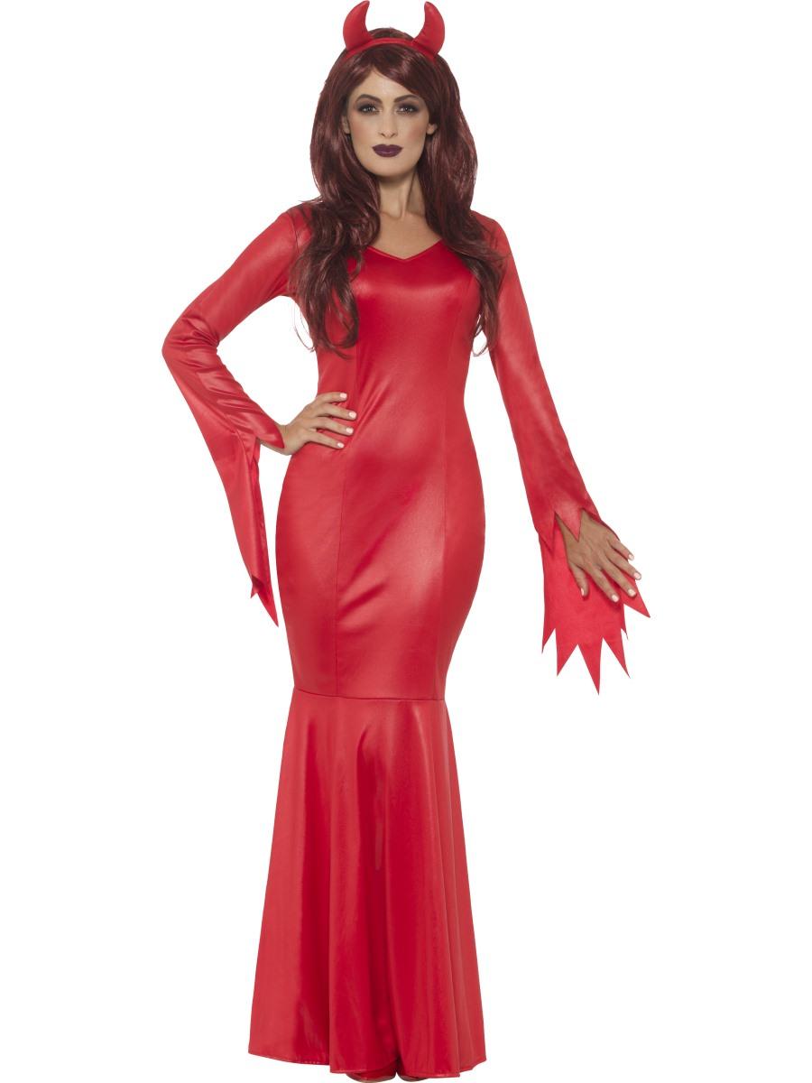 Ladies Red Devil Mistress Metallic Costume Halloween Fancy Dress Outfit Horns