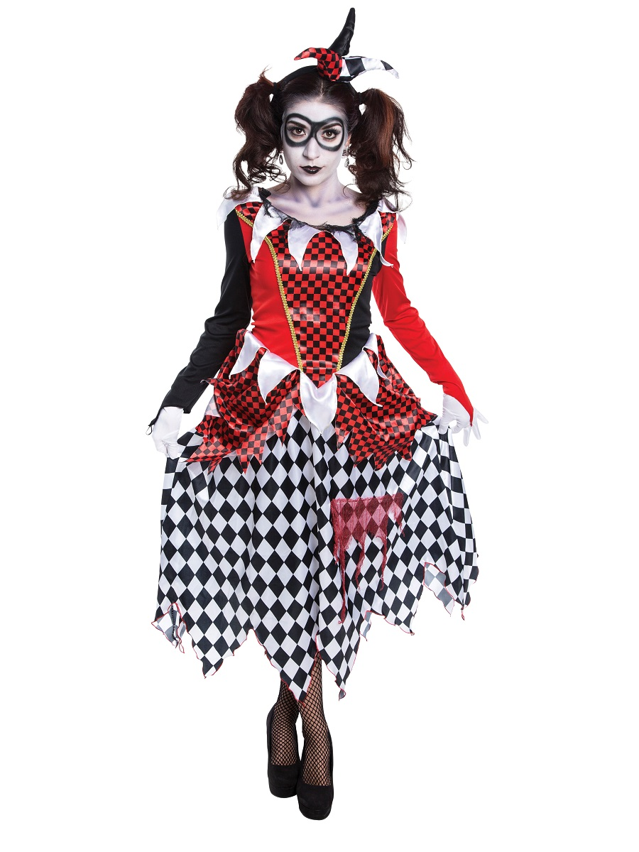 Adult Evil Harlequin Girl Costume Ac698 Fancy Dress Ball