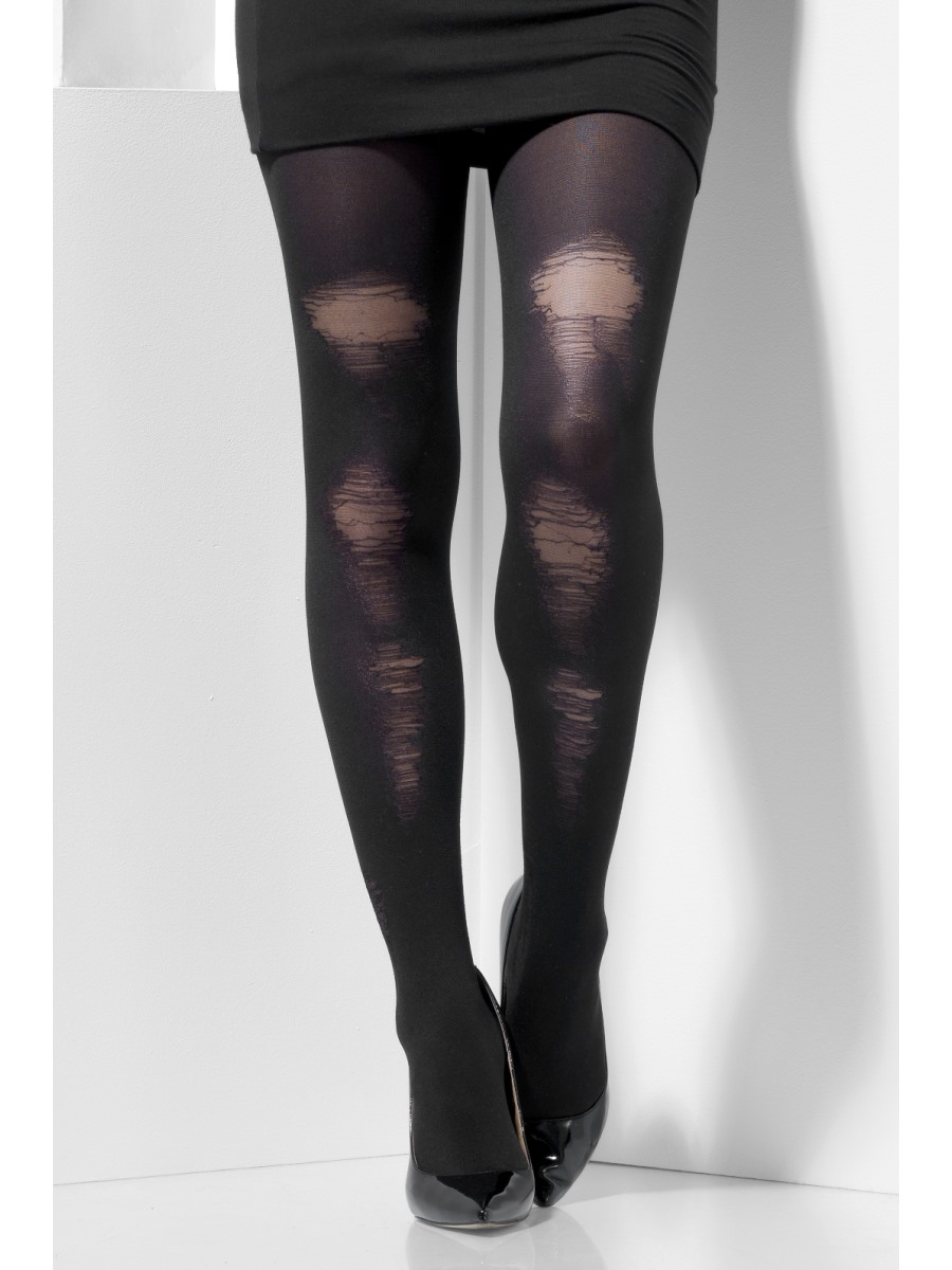 Adult Fever Black Distressed Tights 44443 Fancy Dress Ball