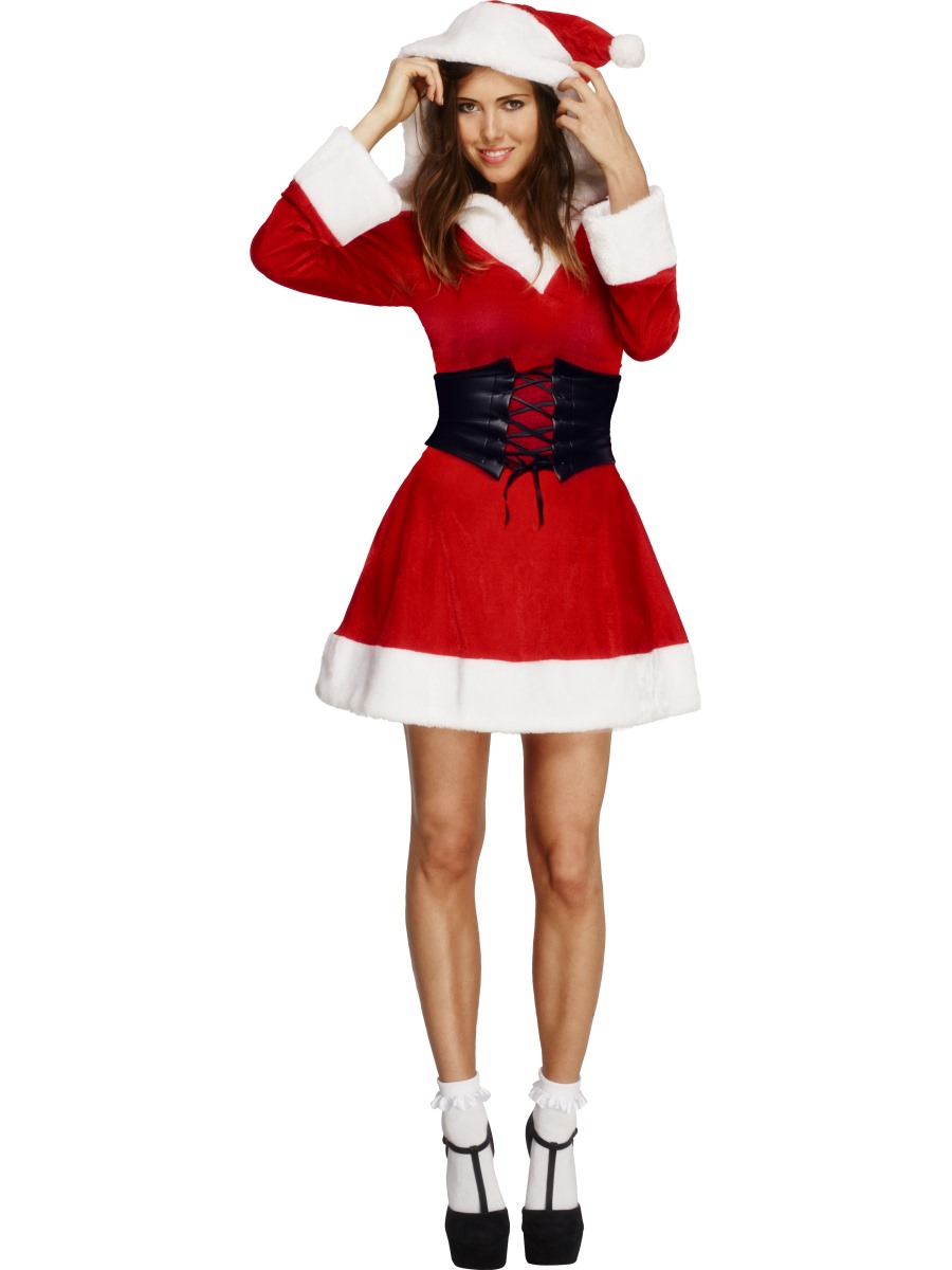 Adult fever hooded santa costume  fancy dress ball