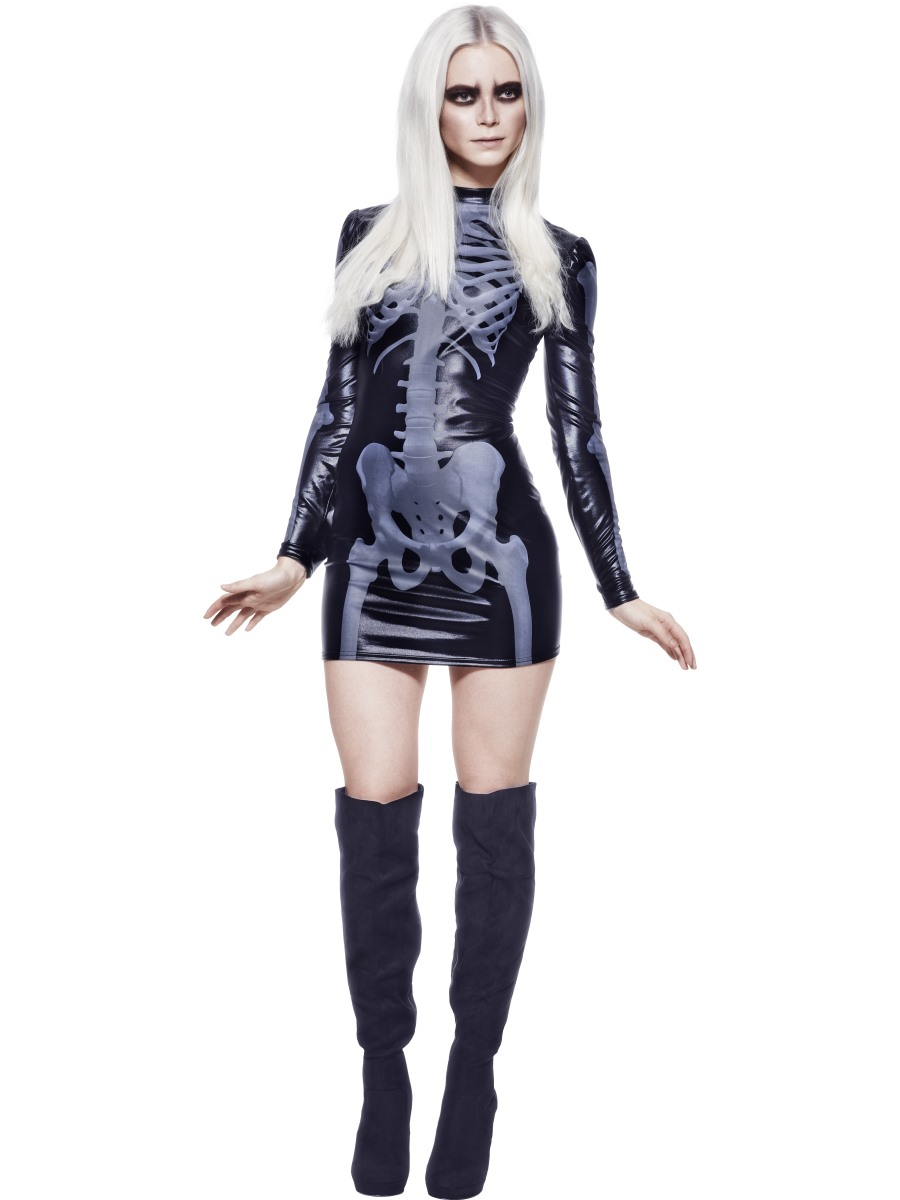 Great Adult Fever Miss Whiplash Skeleton Costume