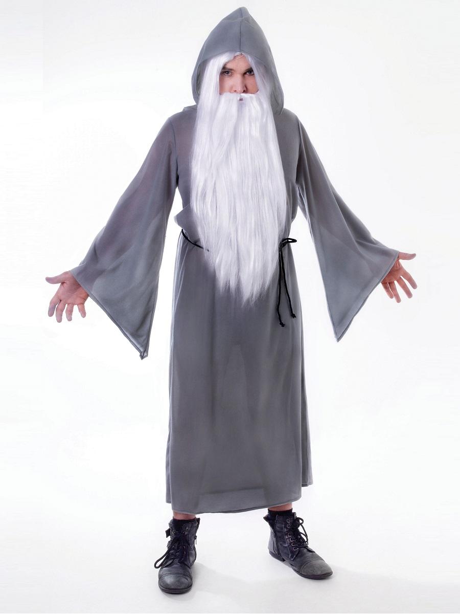 Adult Grey Wizard Cloak Ac130 Fancy Dress Ball