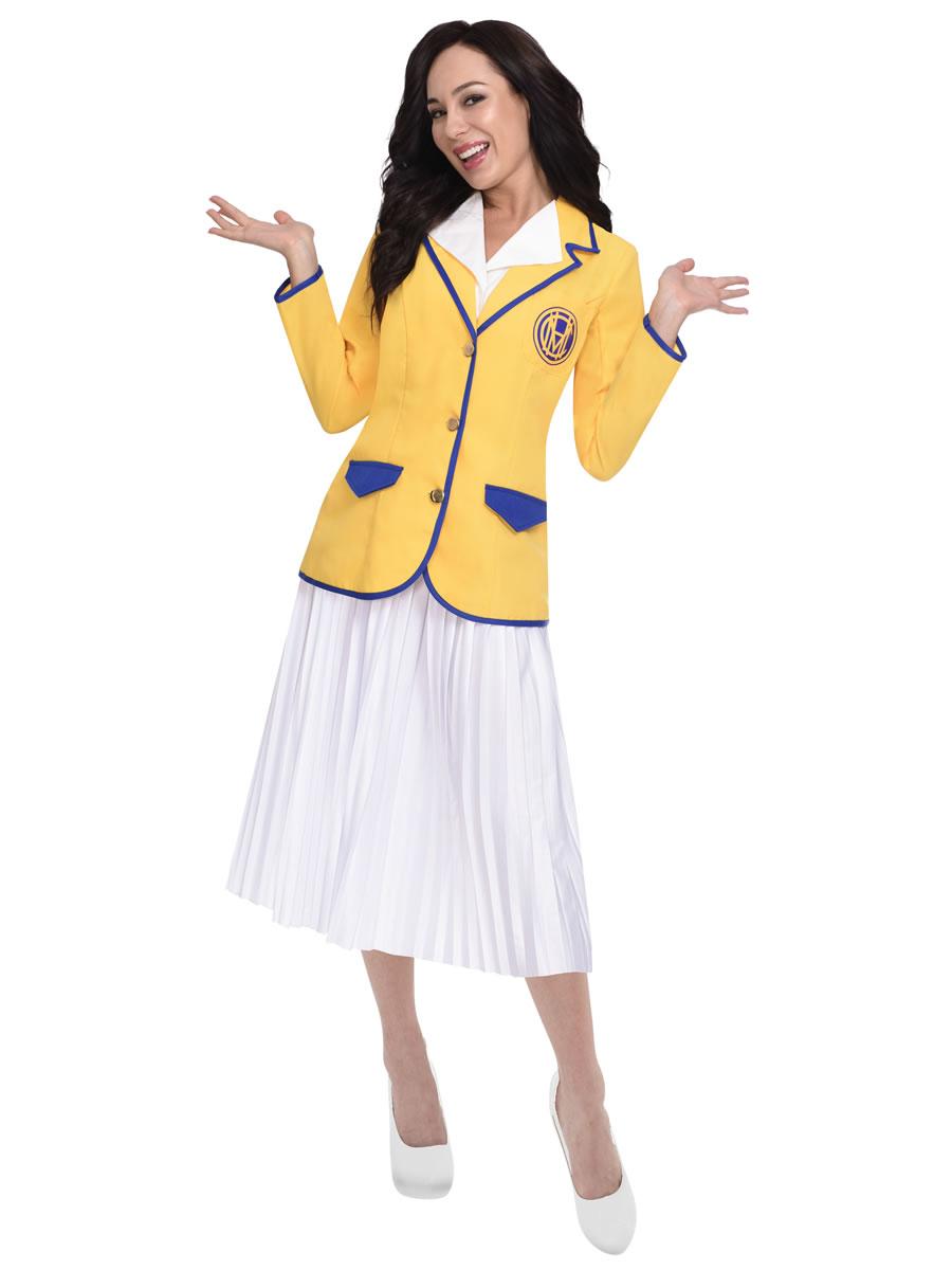 Ladies Adult 80s Hi De Hi Female Yellow Coat Holiday Hostess Fancy Dress Costume