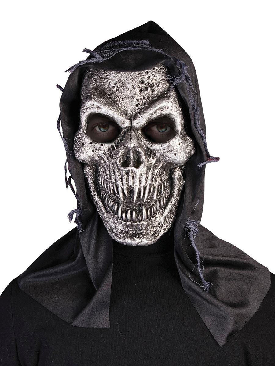 Adult Hooded Metal Skull Mask Bm511 Fancy Dress Ball