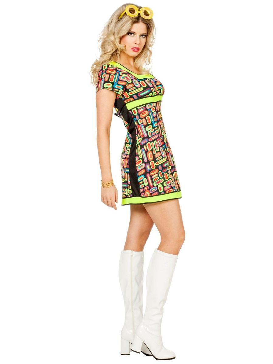 Adult Ladies 60s Neon Pop Art Costume - 4134 - Fancy Dress ...
