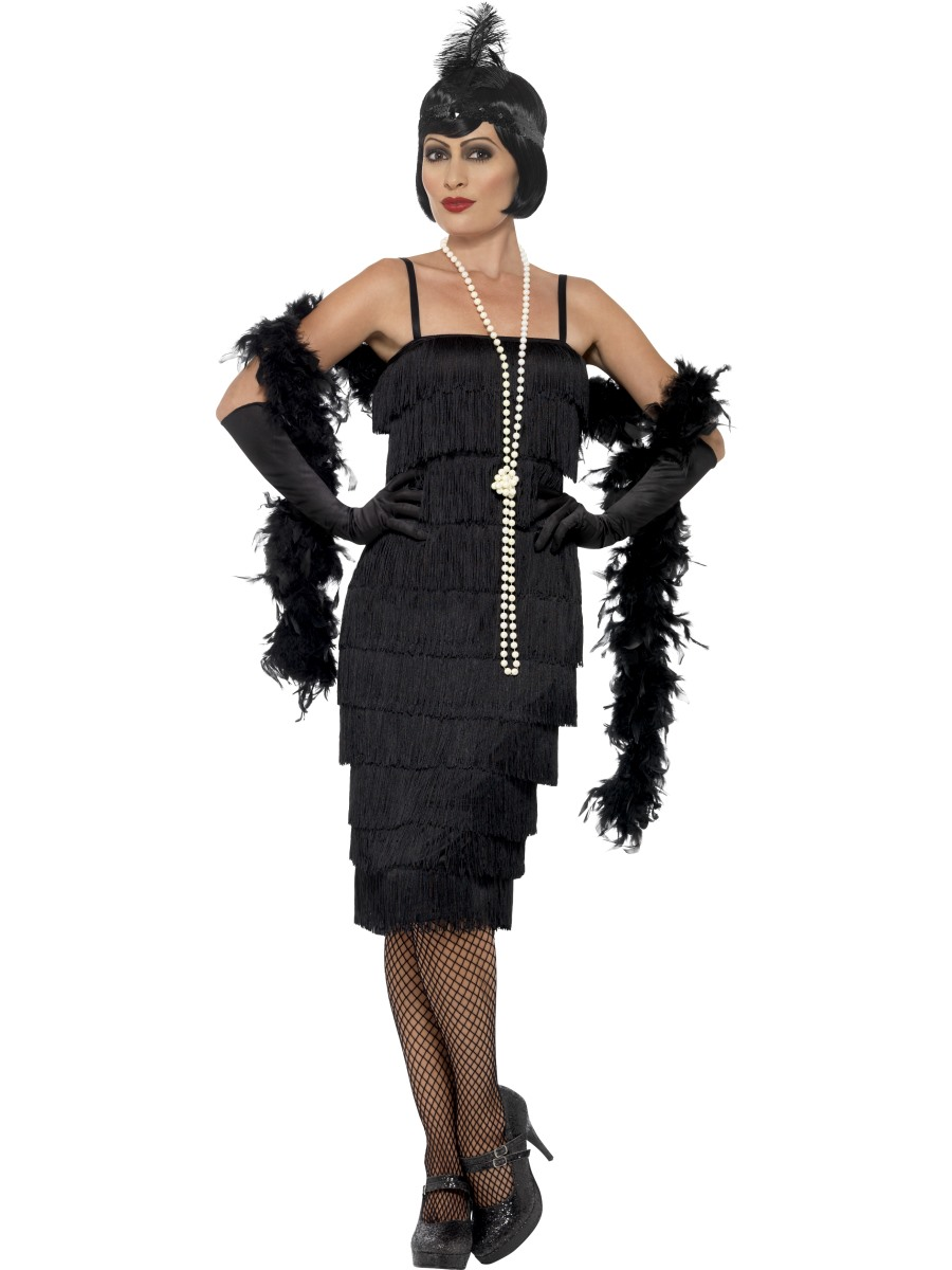 adult long black flapper costume 45502 fancy dress ball. Black Bedroom Furniture Sets. Home Design Ideas