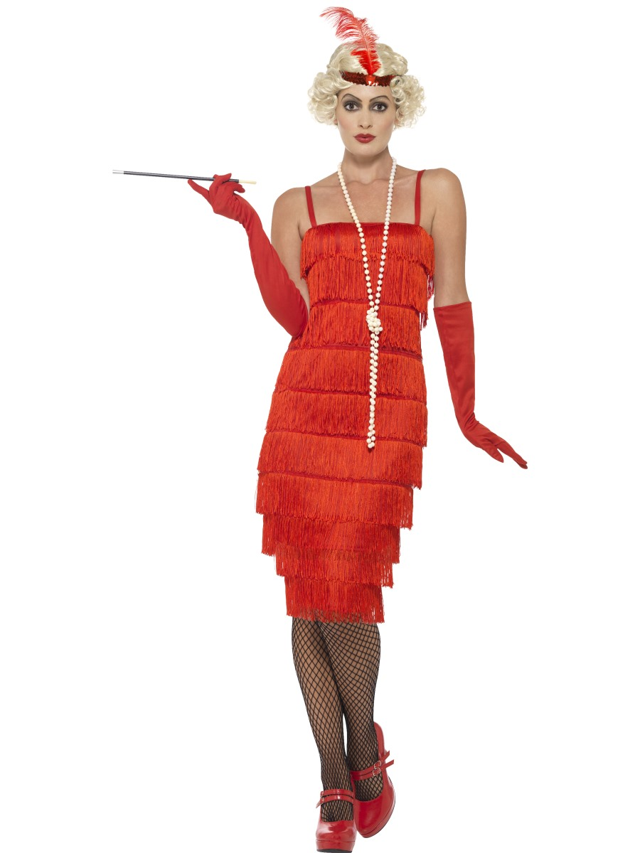 Adult Long Red Flapper Costume 45501 Fancy Dress Ball