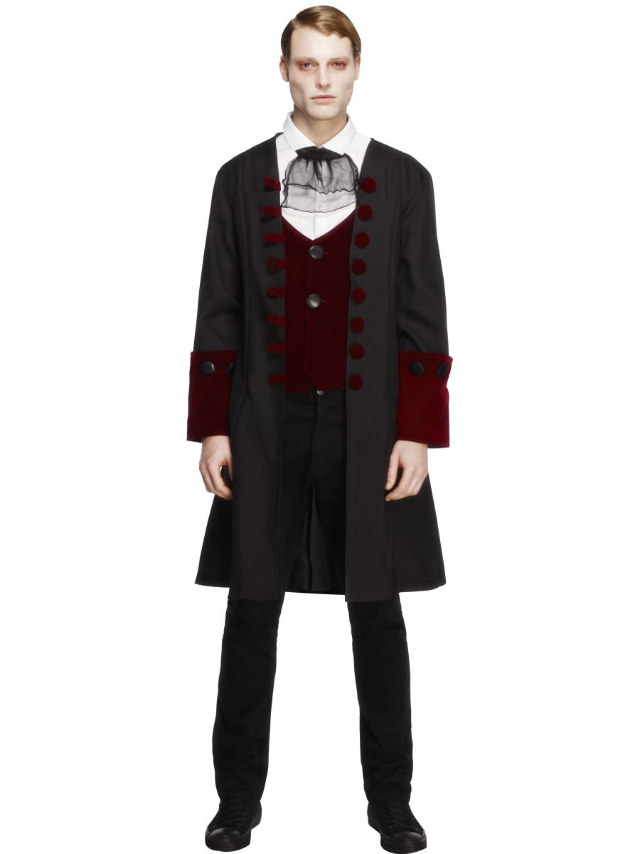 Adult VICTORIAN VAMPIRE Halloween Dracula Gothic Groom Fancy Dress Costume Mens
