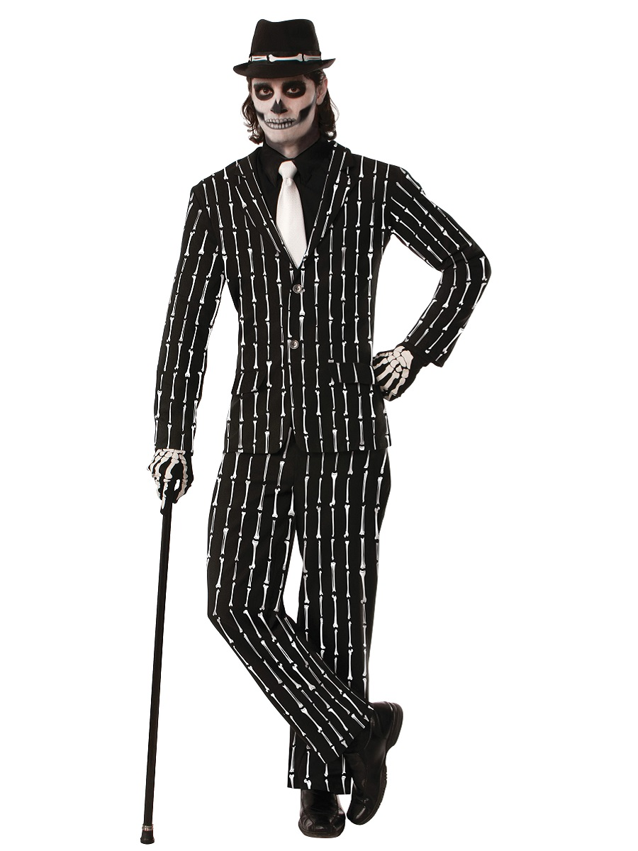 Adult Pin Striped Bone Suit Costume Ac628 Fancy Dress Ball