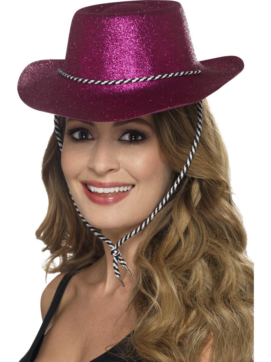 Adult Pink Glitter Cowboy Hat 21882 Fancy Dress Ball