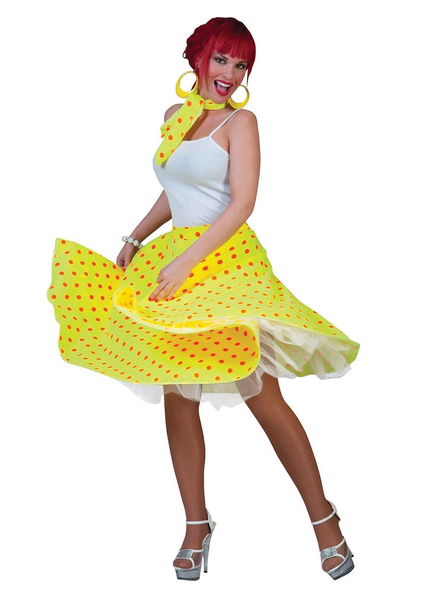 Rock N Roll 50/'s Skirt Fancy Dress Adult All Colours