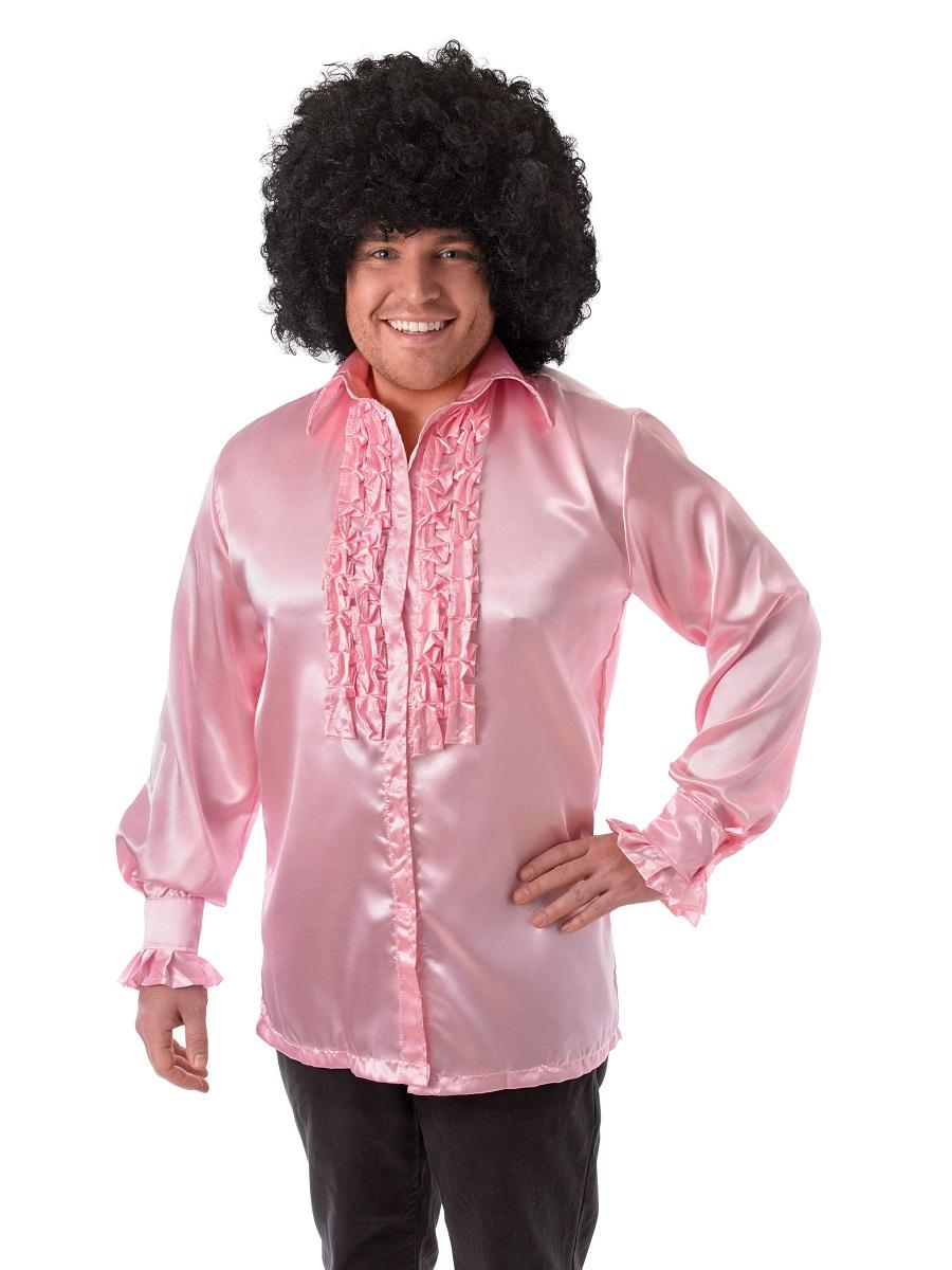 Adult 1970s Satin Ruffle Shirt Red White Pink Blue Purple