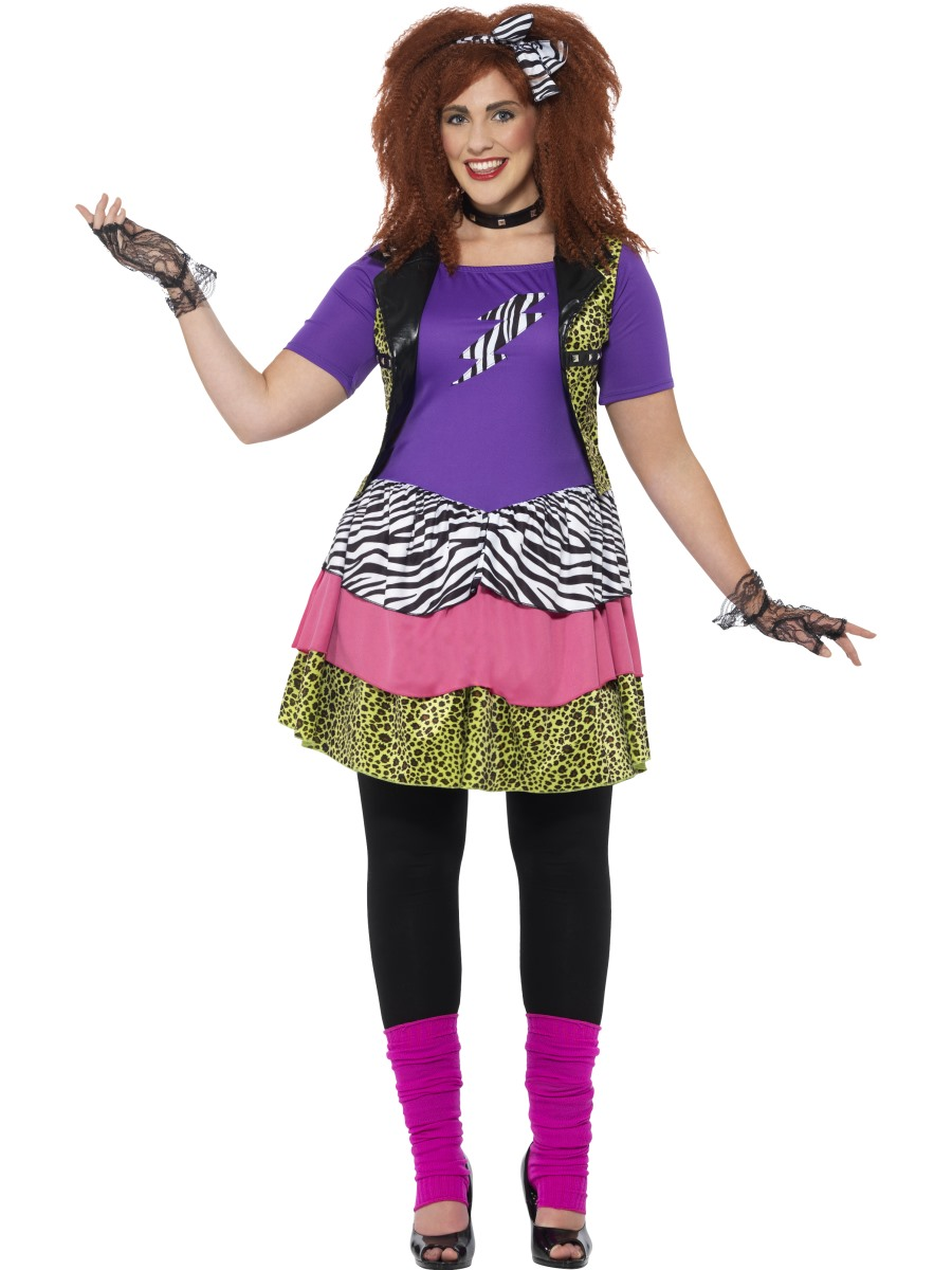 Adult Plus Size Curves 80s Rock Chick Costume - 44658 ...