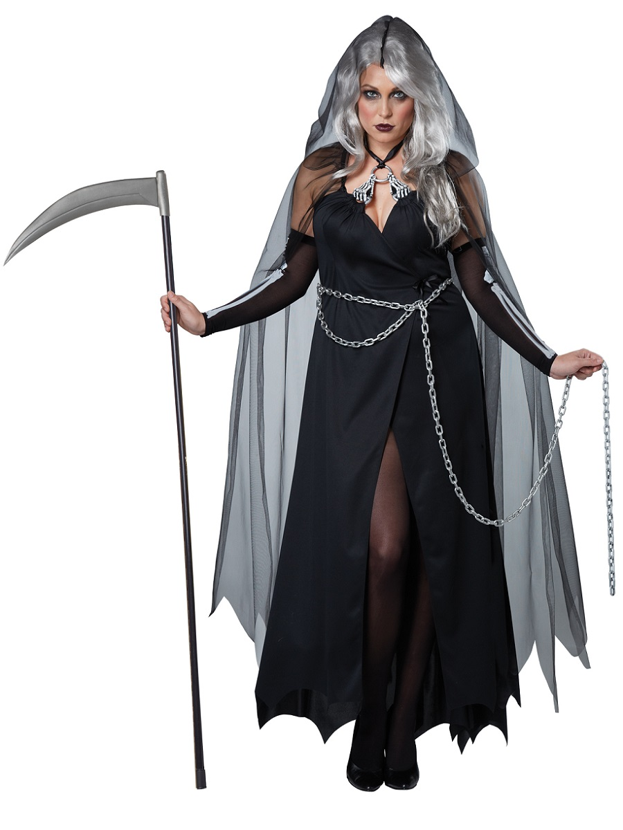 Adult Plus Size Lady Reaper Costume 01732 Fancy Dress Ball