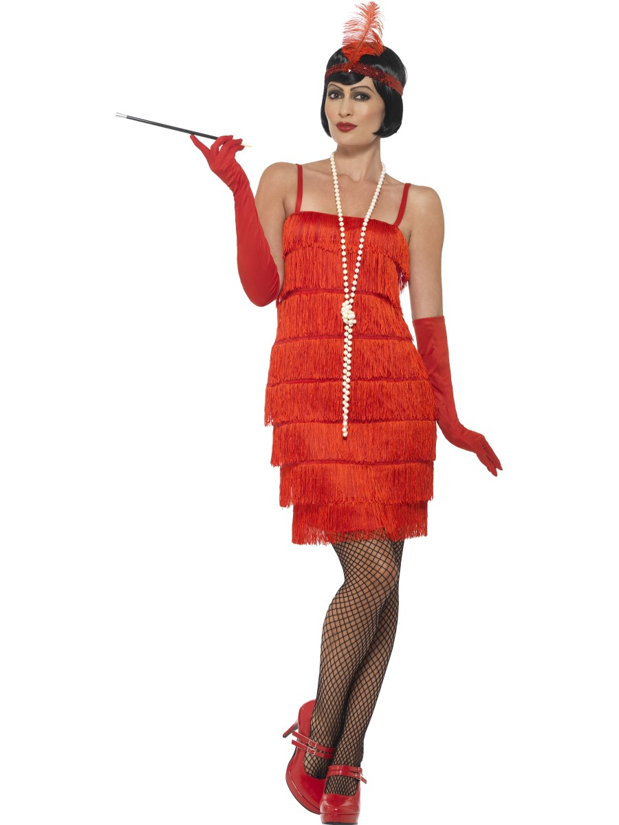 Adult red flapper costume 45499 fancy dress ball - Disfraces sencillos para carnaval ...