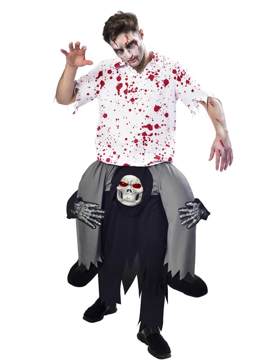 Adult Ride On Pumpkin Costume Scary Halloween Lift Me Up Piggy Rida Fancy Dress