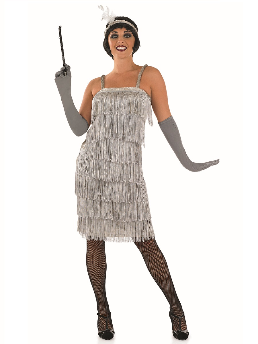 adult 20s roaring silver flapper costume view full image