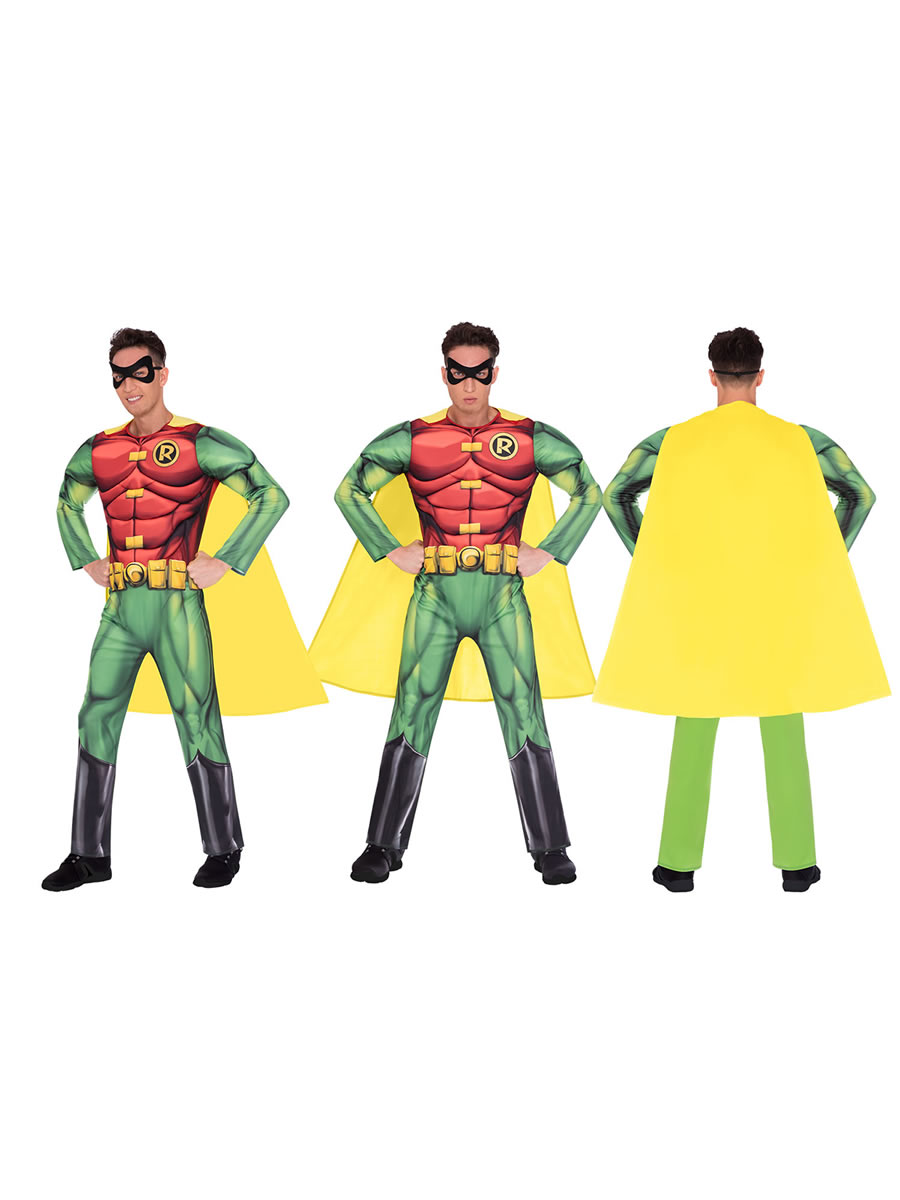 Robin Fancy Dress Mens Superhero Adult Muscle Costume