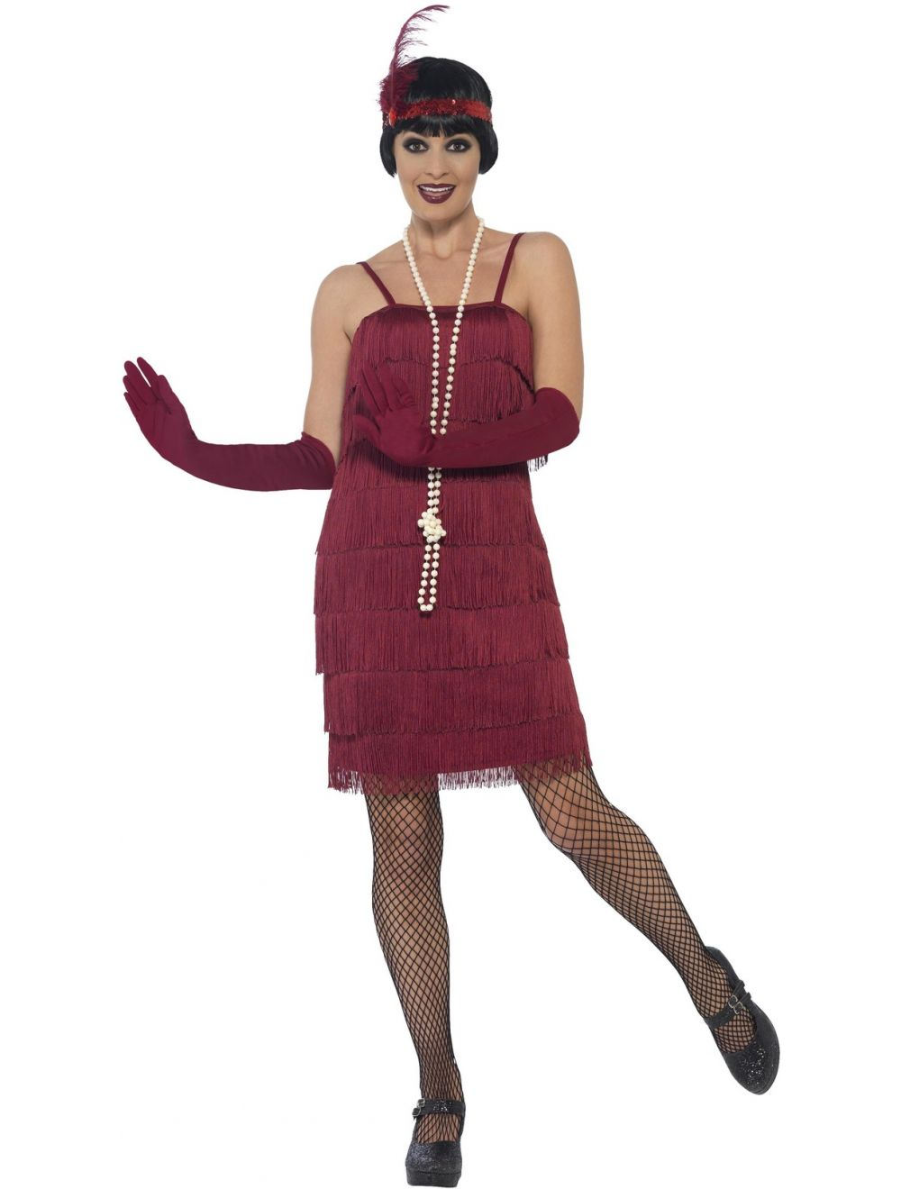 5574d08cd0612 Adult Short Burgundy Flapper Costume - 44675 - Fancy Dress Ball