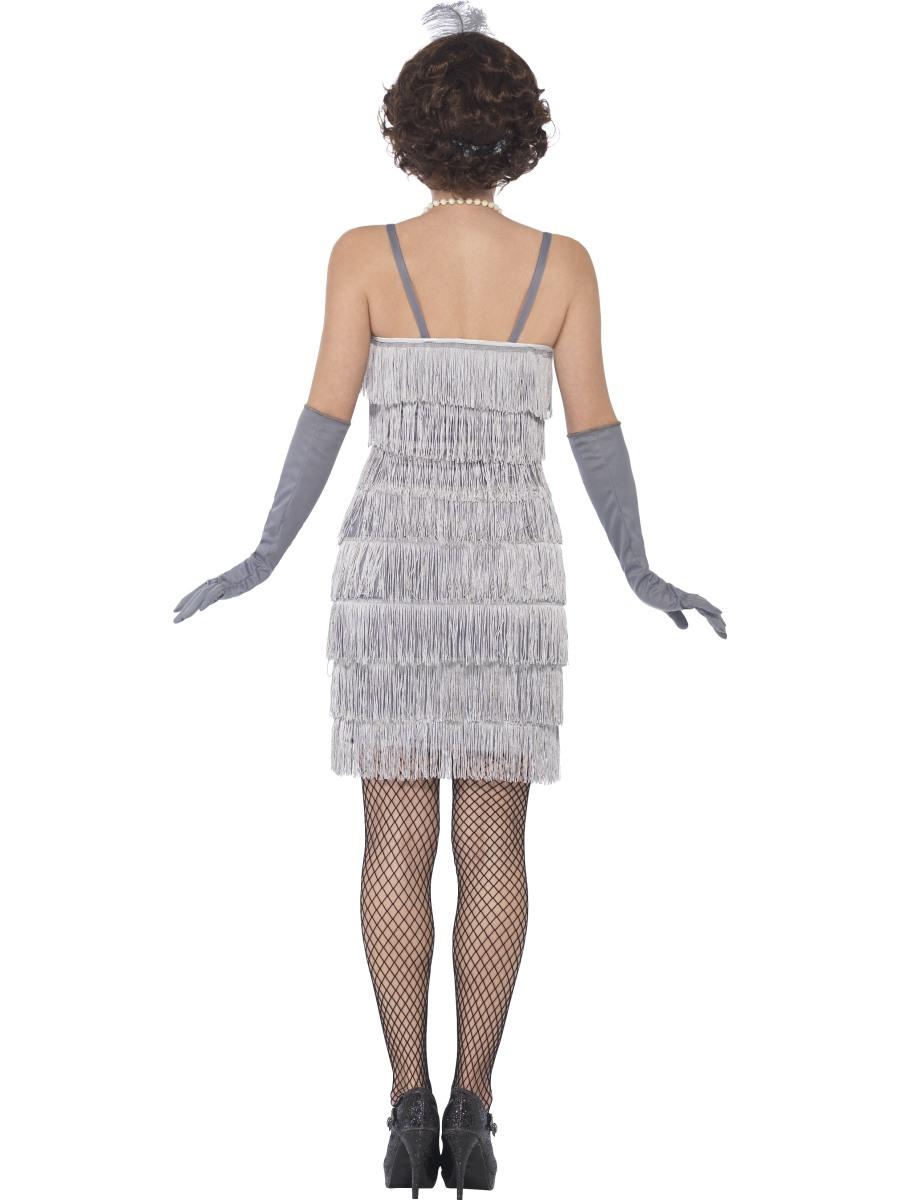 Sexy silver flapper dress
