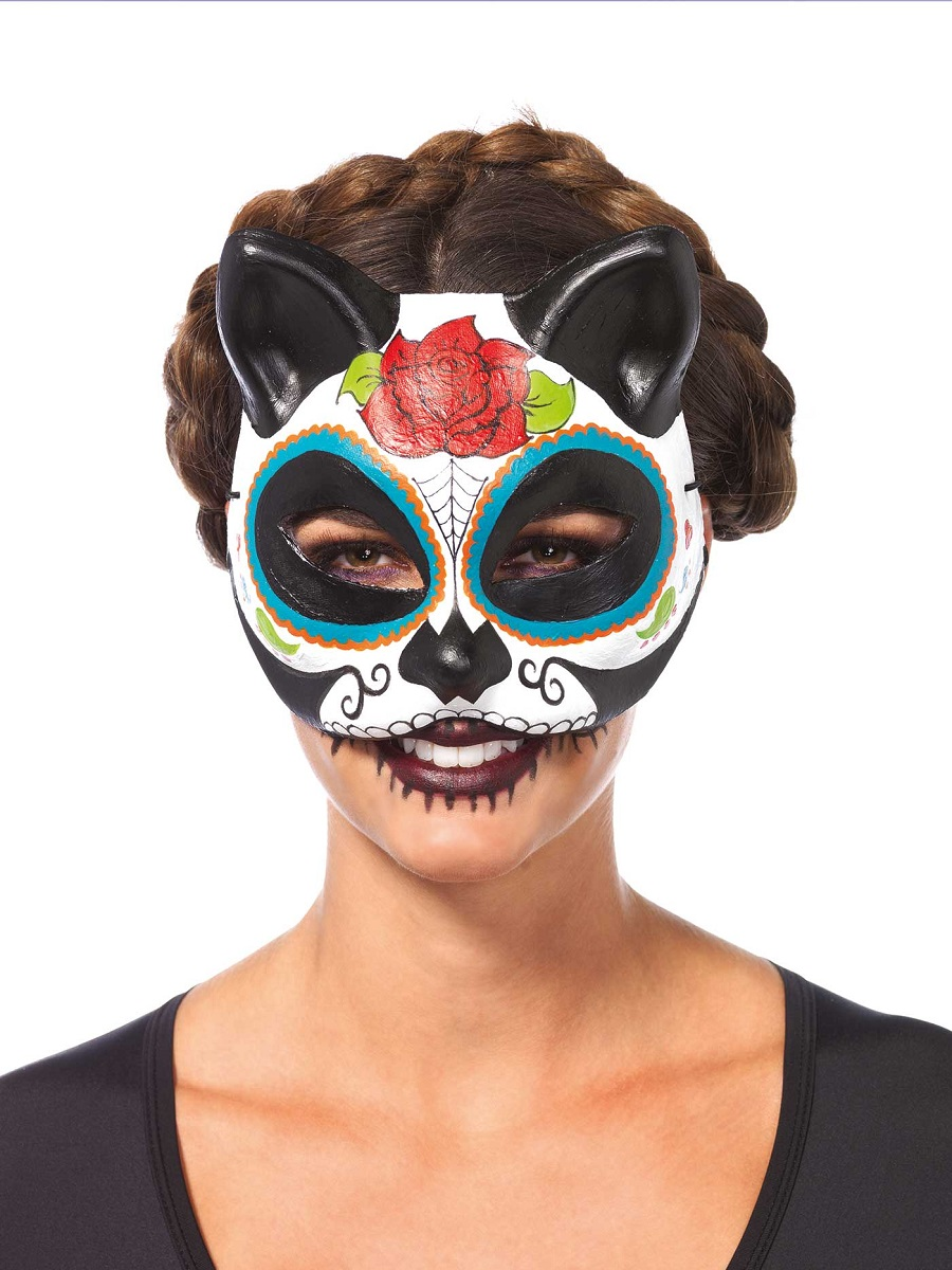 Adult Sugar Skull Cat Mask - 3735 - Fancy Dress Ball
