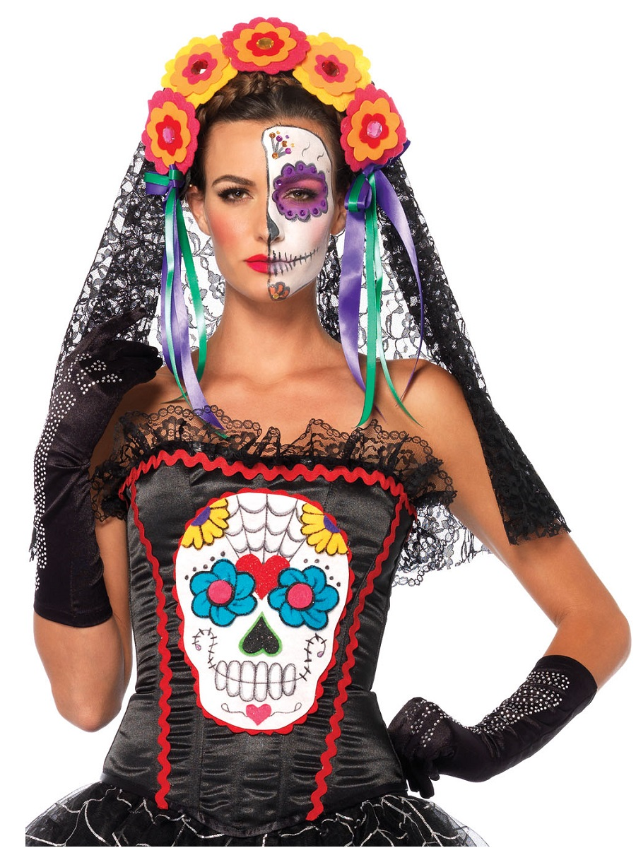 a9f0e0f7c29 Adult Sugar Skull Corset - 85347 - Fancy Dress Ball