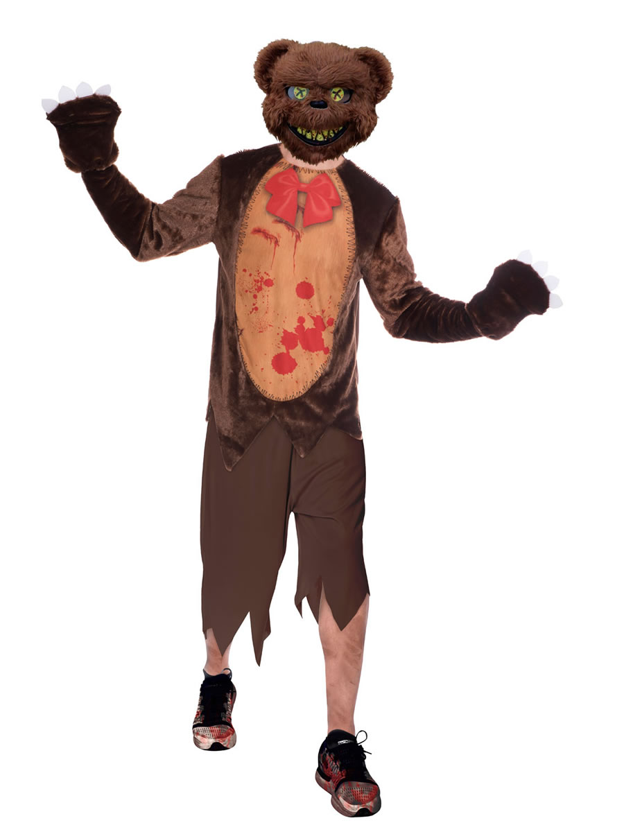 Deluxe Adult Zombie Teddy Bear Fancy Dress Scary Animal Halloween Horror Costume