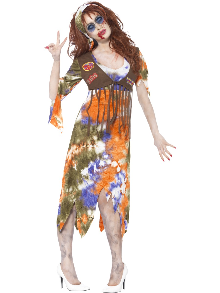 adult zombie 60s hippie lady costume  61105  fancy dress