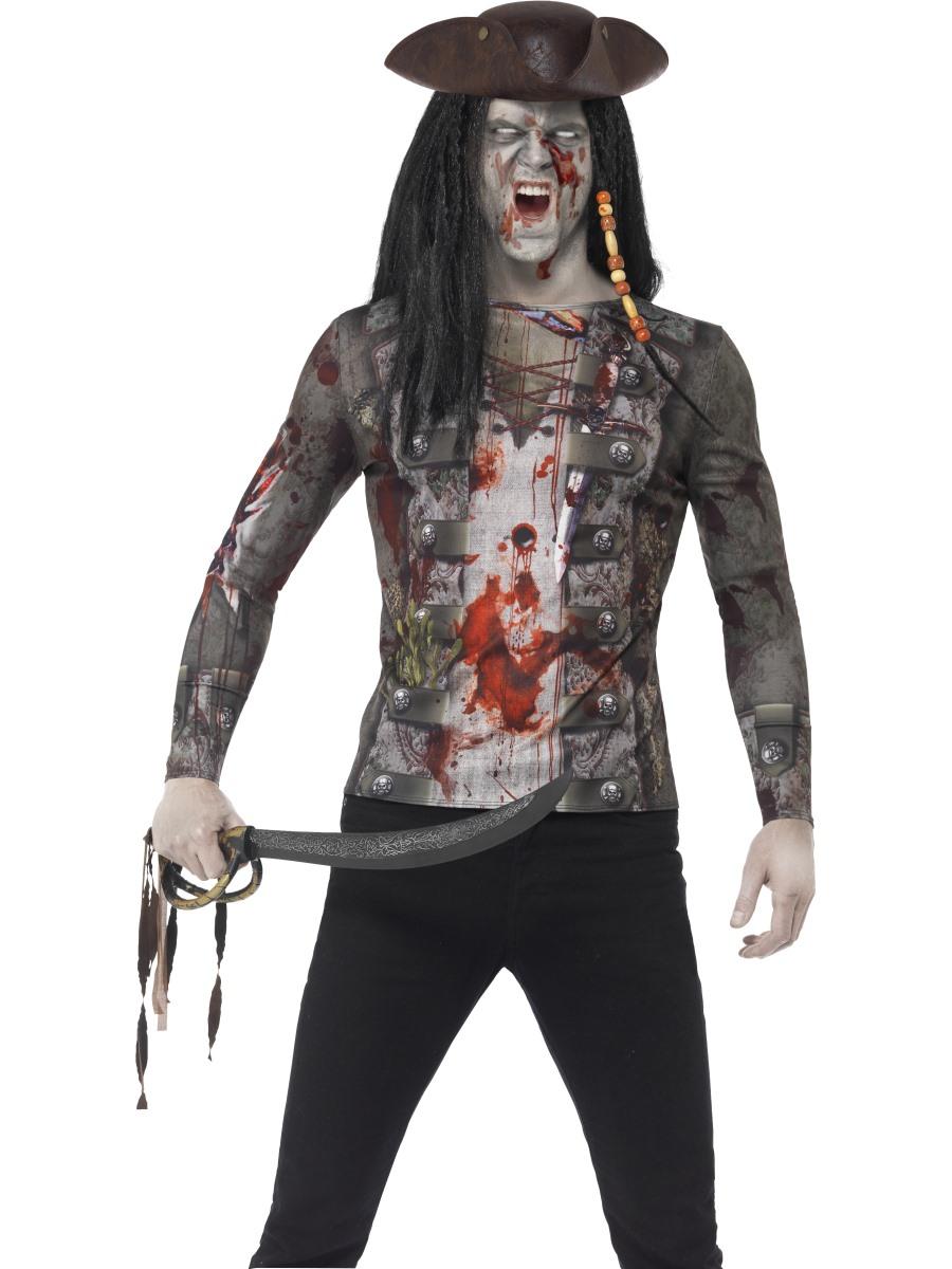 adult zombie pirate t shirt 45564 fancy dress ball. Black Bedroom Furniture Sets. Home Design Ideas