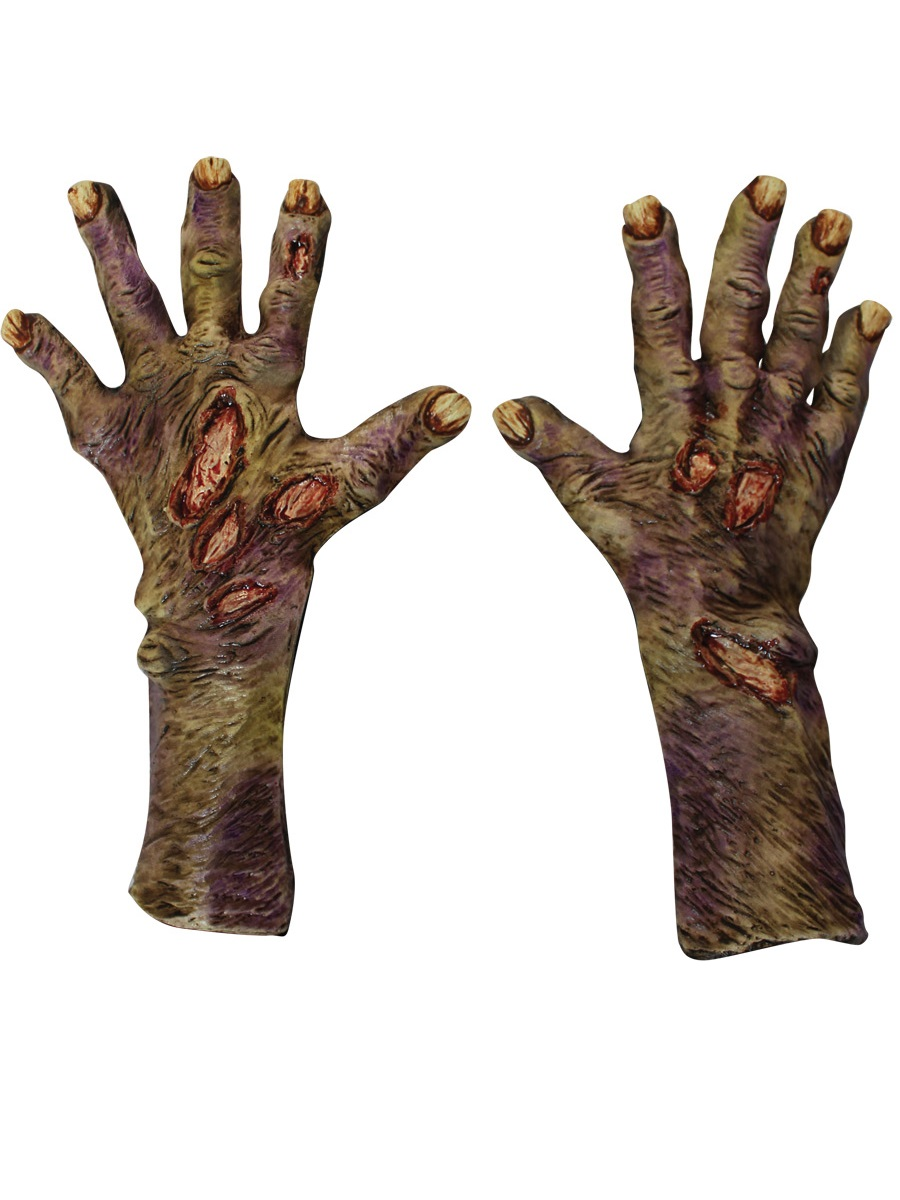 Adult Zombie Rotted Large Latex Gloves 25319 Fancy