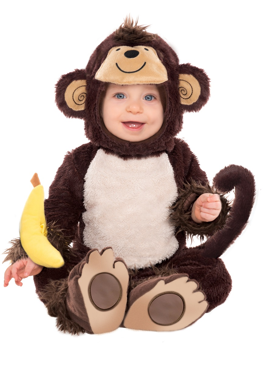 A baby monkey costume is warm and fuzzy, and your little one looks adorable no matter the occasion. Many one-piece costumes come with an attached hood and tail to keep babies cozy and warm. A plush fur body option is also available as a baby boy costume or a baby girl costume.