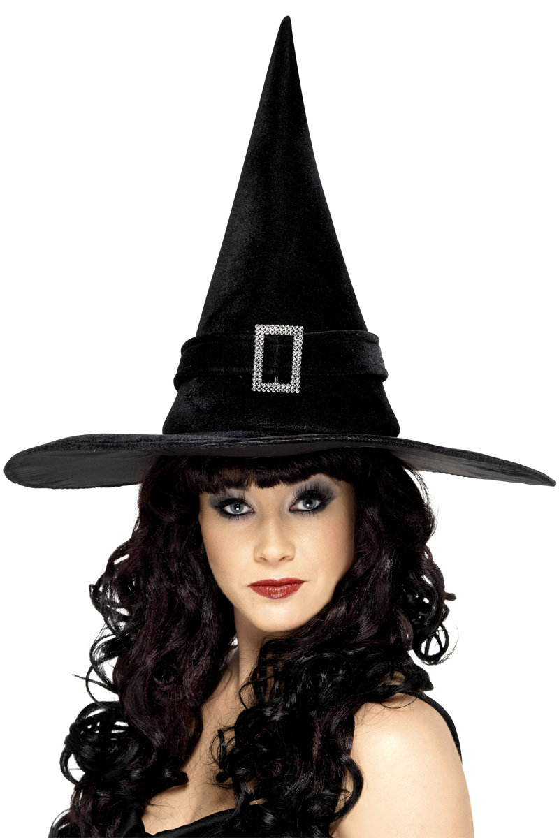 Adult Black Diamante Witches Hat - 22003 - Fancy Dress Ball