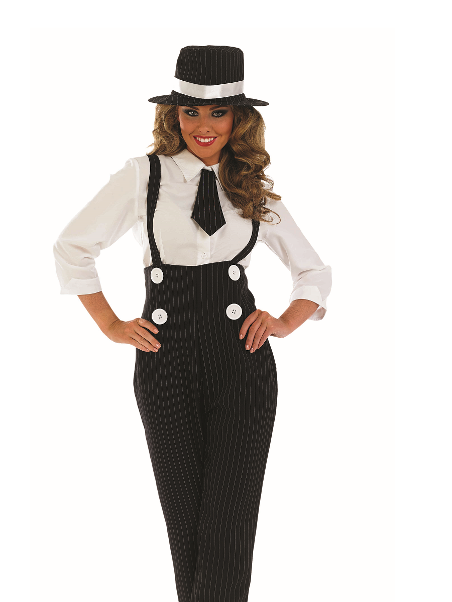 adult black gangster lady costume back view view full image