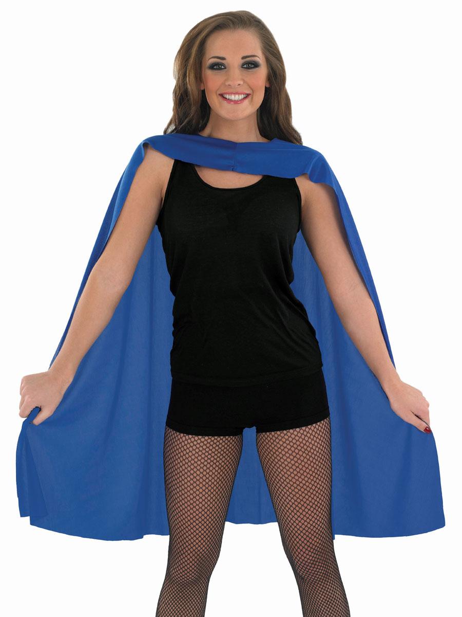 adult ladies blue super hero cape - fs3556