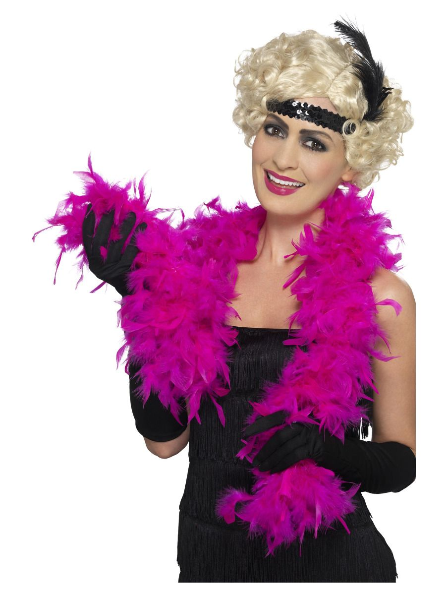 movie the letters boa feather shocking pink 30867 fancy dress 30867