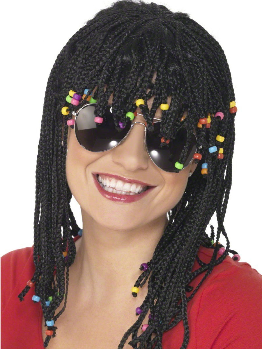 Braided And Beaded Wig Black 42071 Fancy Dress Ball