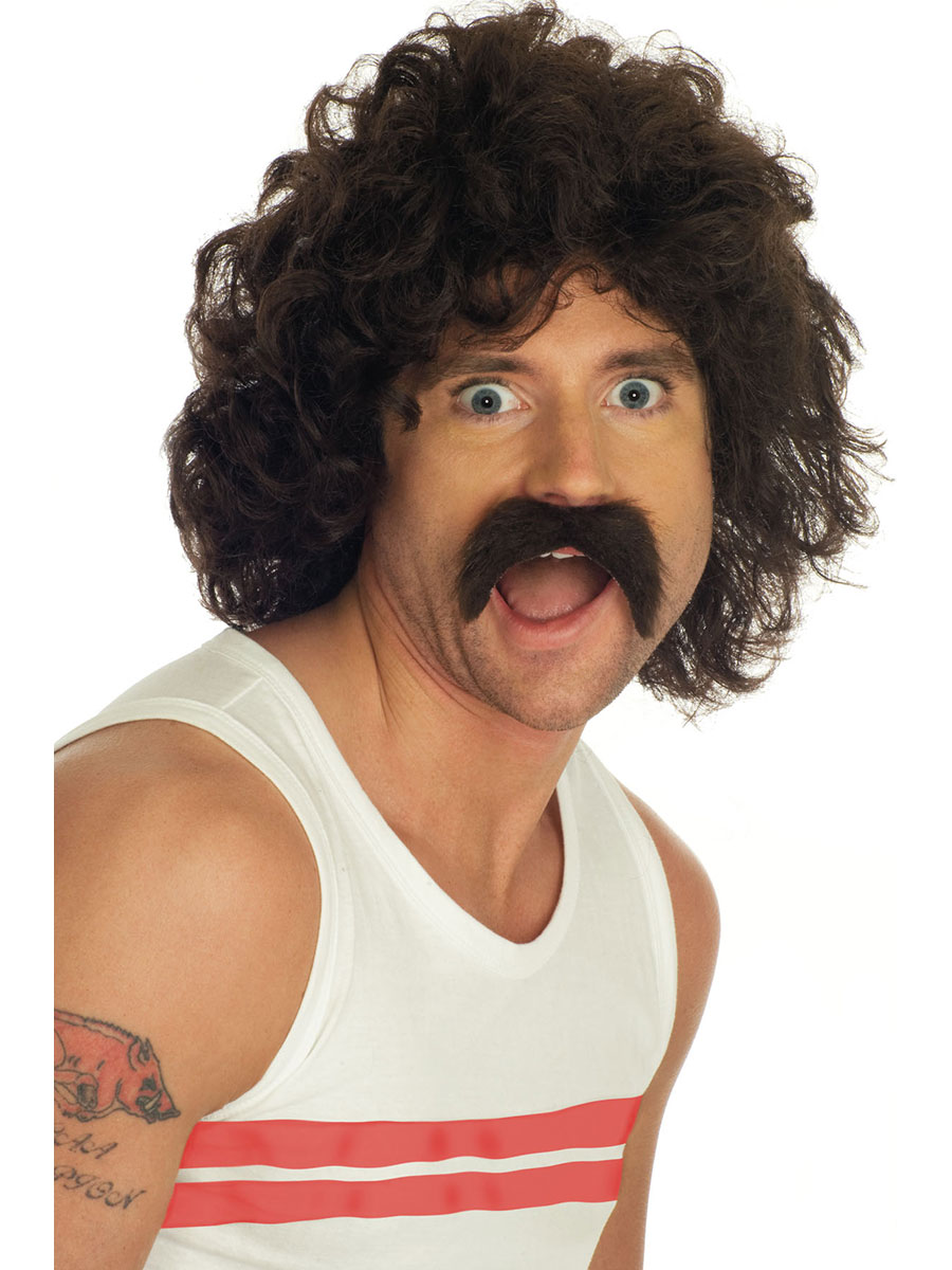 Adult Brown Curly Wig And Tash Fs2191 Fancy Dress Ball