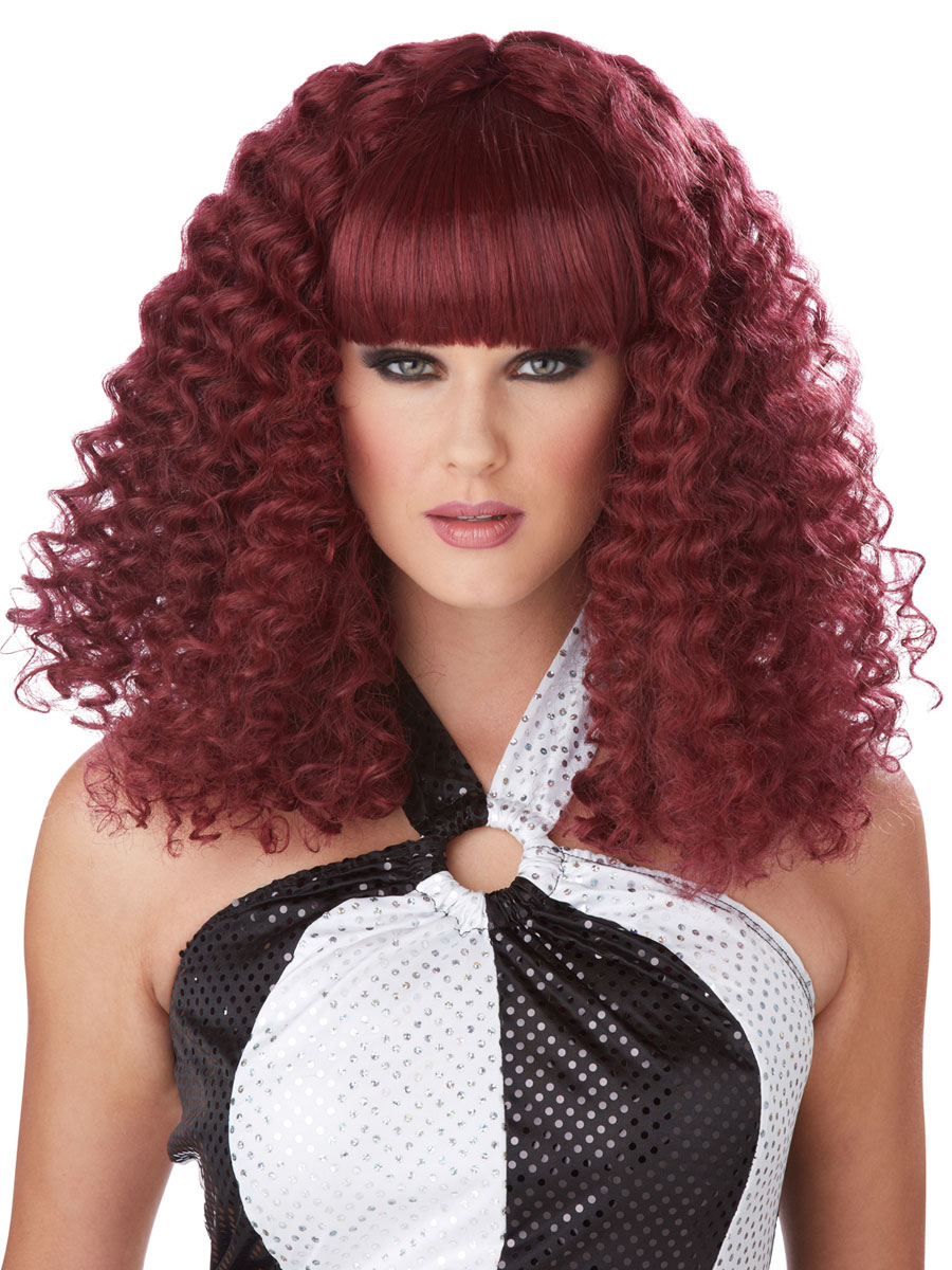 Burgundy Disco Lady Wig 70715 Fancy Dress Ball