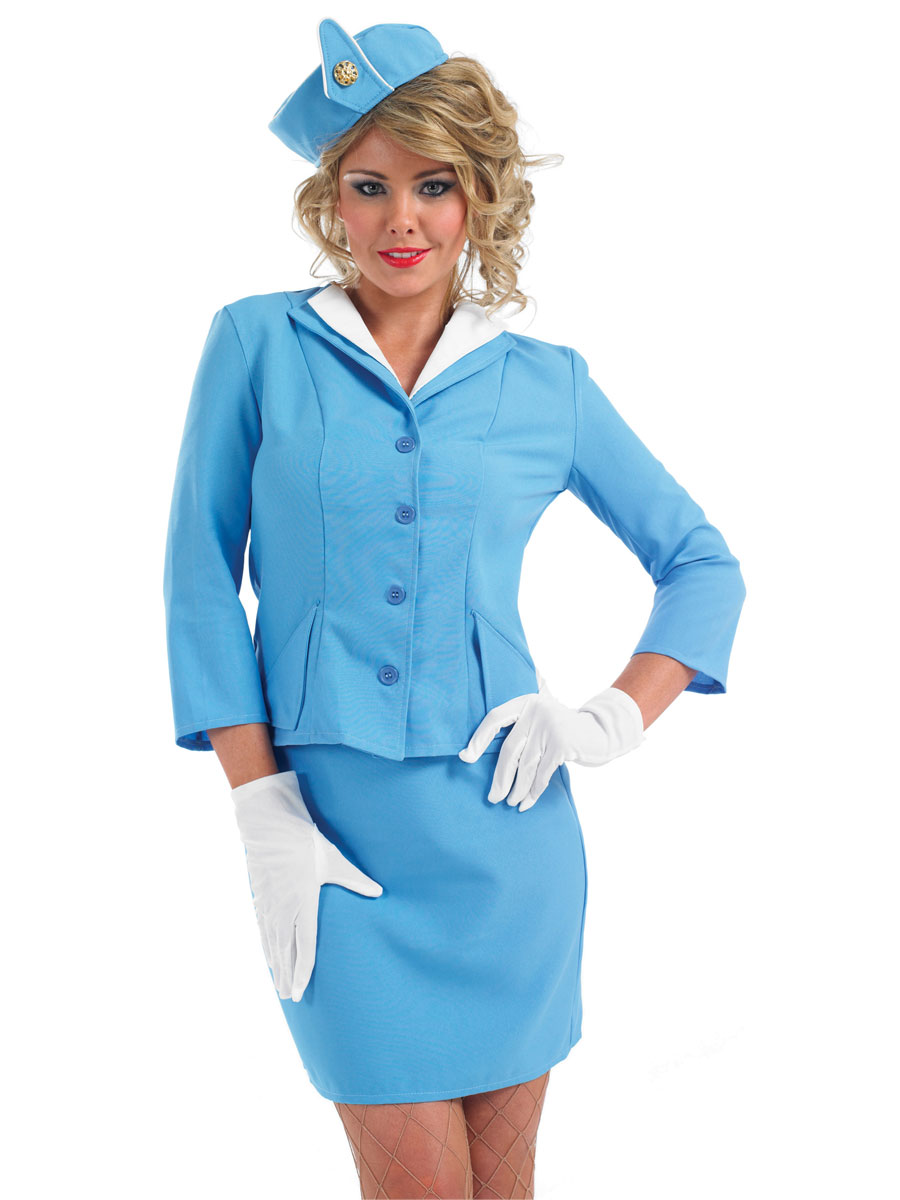 Adult Blue Cabin Crew Costume  sc 1 st  Fancy Dress Ball & Air Hostess Fancy Dress Costume u0026 Outfit Flight Attendant Costume