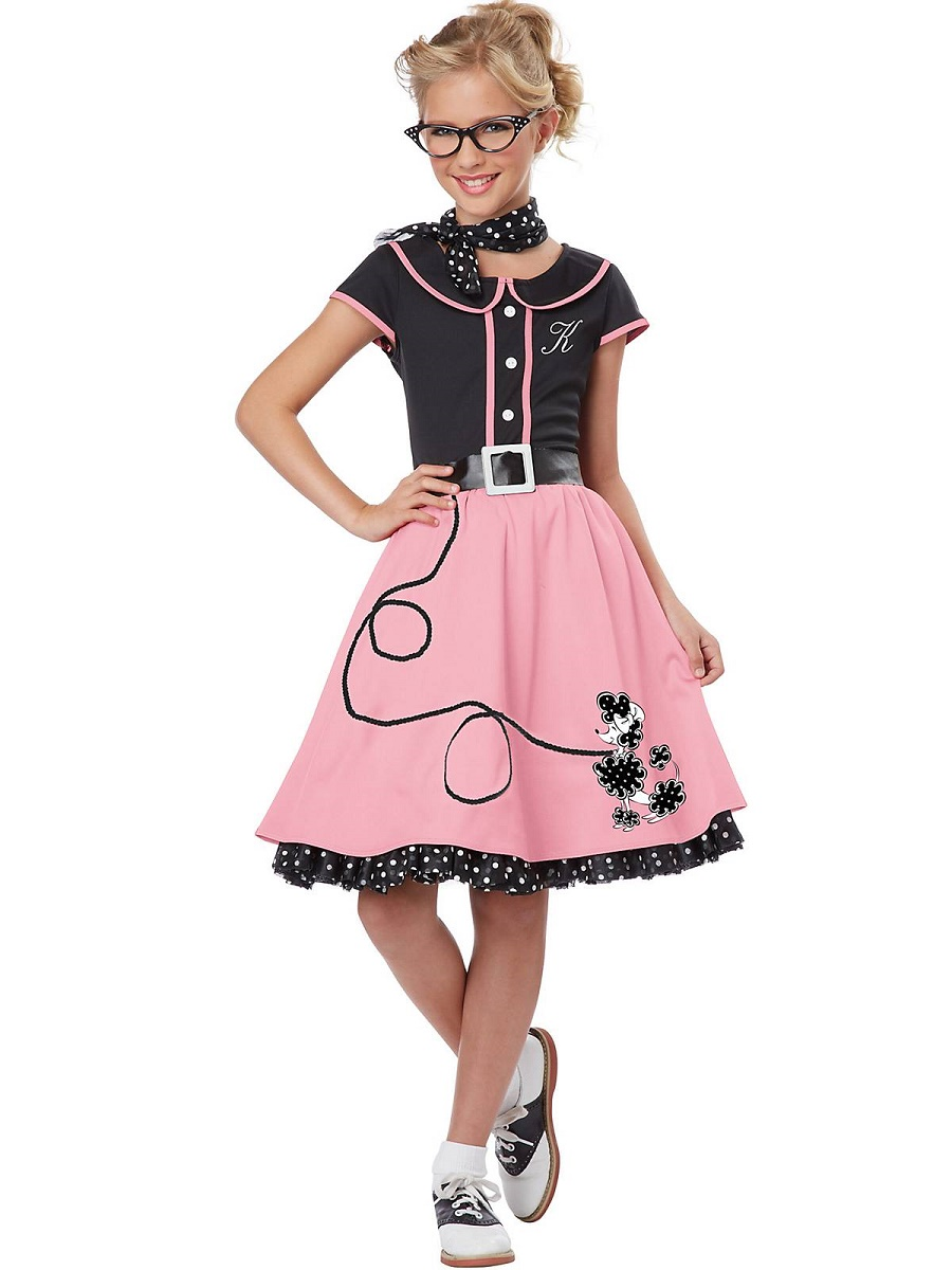 Child Black and Pink 50s Sweetheart Costume - 00400 - Fancy Dress Ball