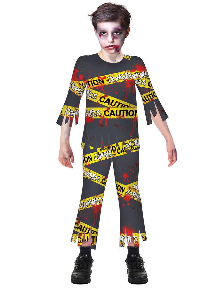 Halloween Zombie Costumes For Girls.Boys Caution Zombie Costume