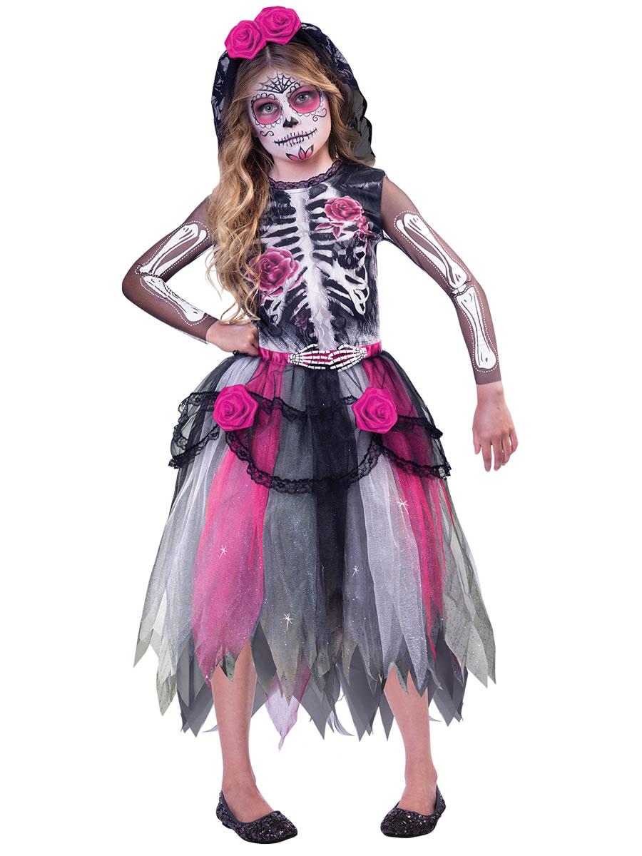 Day Of The Dead Bloody Roses Sugar Skull Headband Veil Halloween Fancy Dress