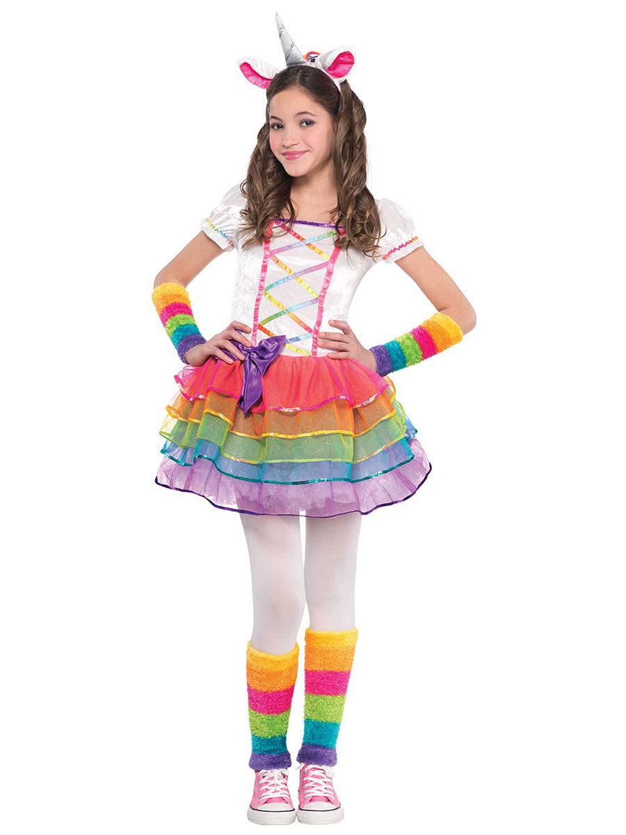 Child rainbow unicorn costume 846858 55 fancy dress ball for Cute homemade halloween costumes for girls