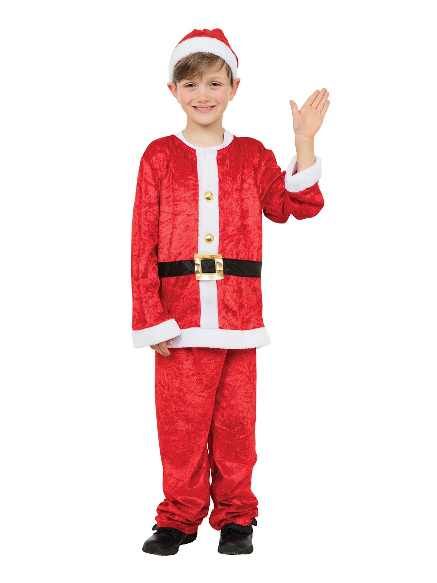 Santa Claus Costume Even Saint Nick Was A Child Once Includes: Includes a red plush pullover santa coat, a red hat with white plush trim, red elastic waist pants, a black belt with gold buckle and black boot tops with plush white trim.