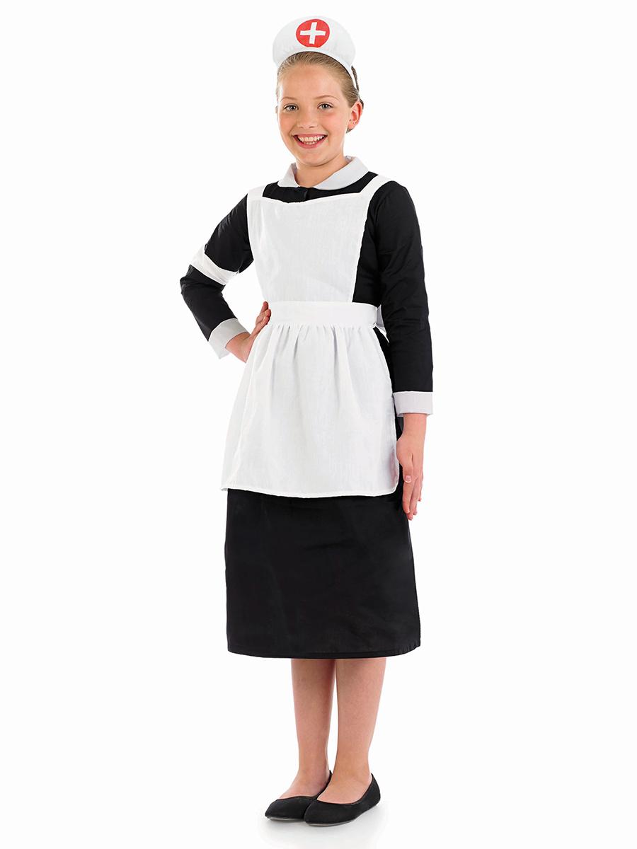 White apron fancy dress - Child Victorian Nurse Costume Fs3605
